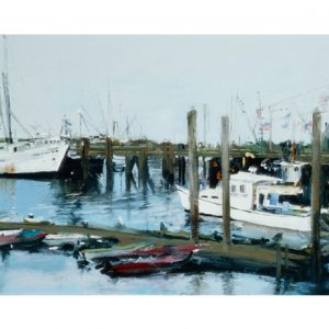 Boats in Harbor Tile