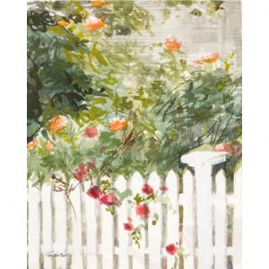 Roses with White Fence Tile
